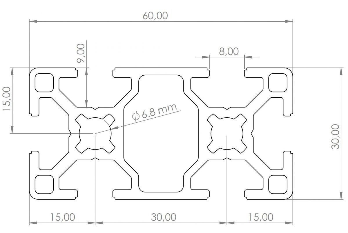 aluminium profiel 30x60 afmeting