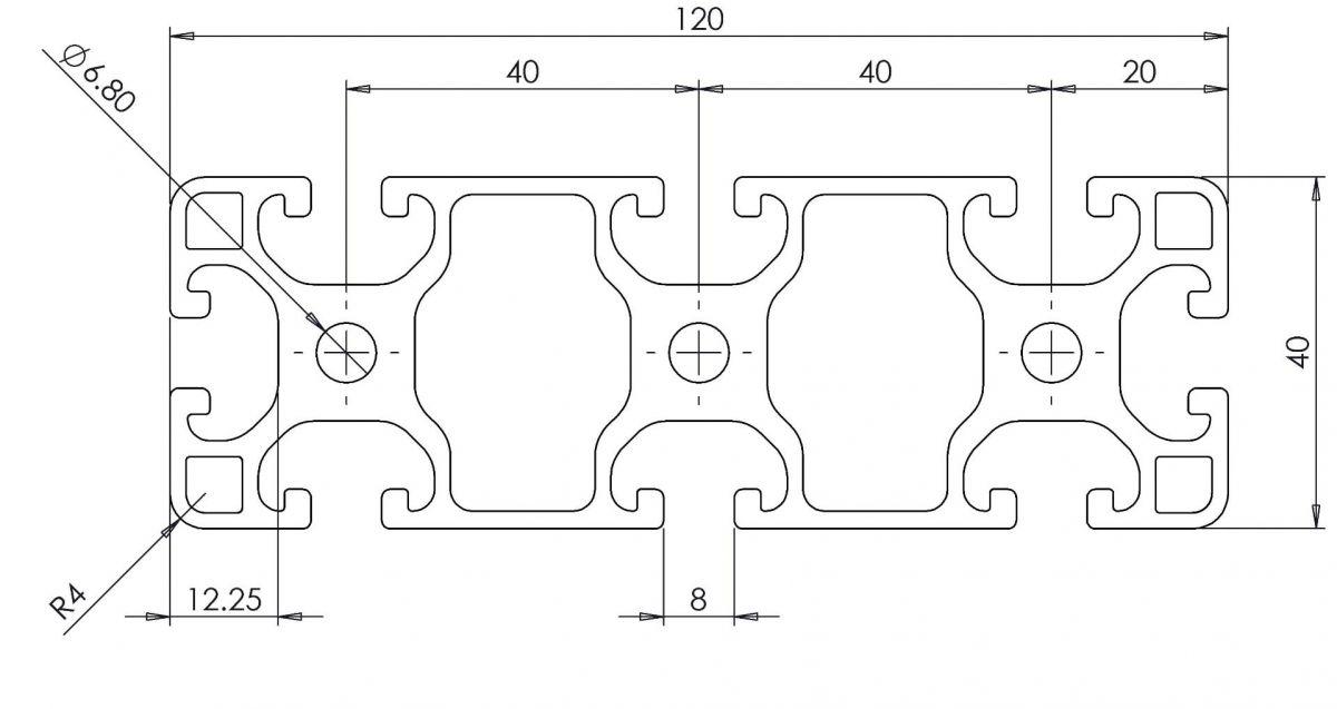 aluminium profiel 40x120 afmetingen