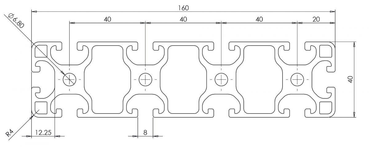 aluminium profiel 40x160 afmetingen