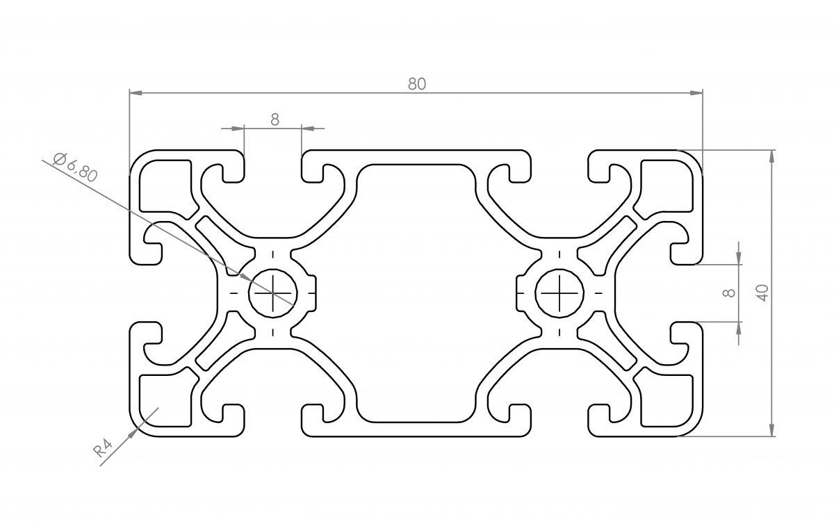 aluminium profiel 40x80 afmetingen