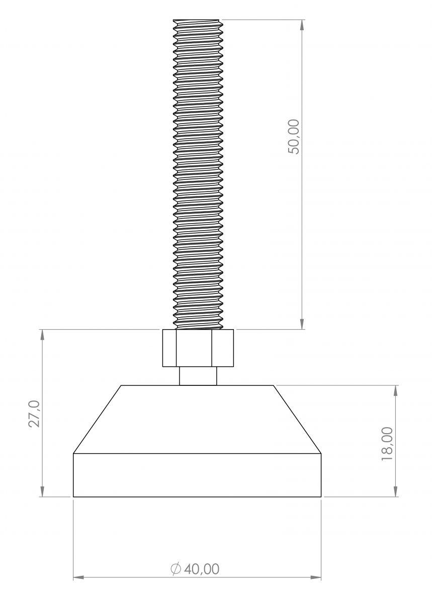 stelvoet 40mm m8x50 spindel